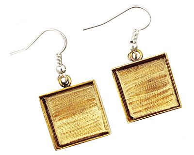 Brass Square Bezel Earrings 16mm
