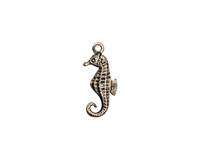 Stampt Antique Pewter (plated) Seahorse Charm 7.5x17mm