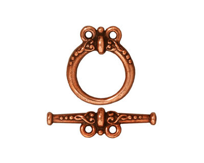 TierraCast Antique Copper (plated) Heirloom 2-Loop Toggle Clasp 18x15, 24mm