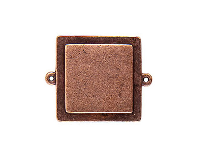 Nunn Design Antique Copper (plated) Raised Tag Small Square Connector 38x30mm