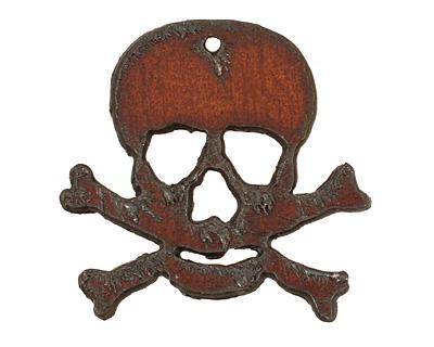 The Lipstick Ranch Rusted Iron Skull & Crossbones Pendant 46x43mm