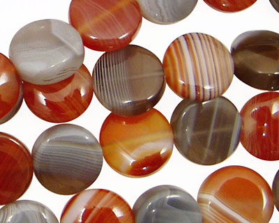 Red & Gray Botswana Agate Puff Coin 12mm