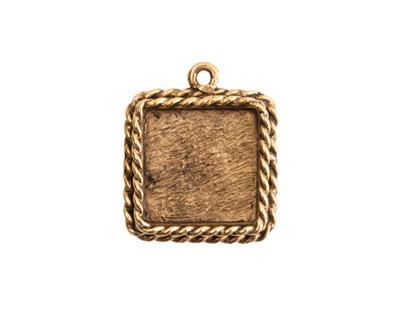 Nunn Design Antique Gold (plated) Mini Ornate Square Bezel Pendant 16x20mm