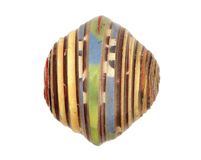 African Paper (yellow, red, blue) Bicone 24-25x26-27mm