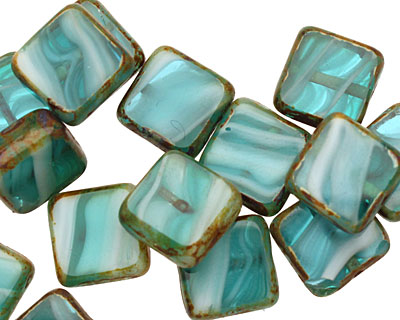 Czech Glass Beach Glass Picasso Square 10mm