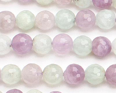 Multi Gemstone (Cape Amethyst & New Jade) Faceted Round 8mm