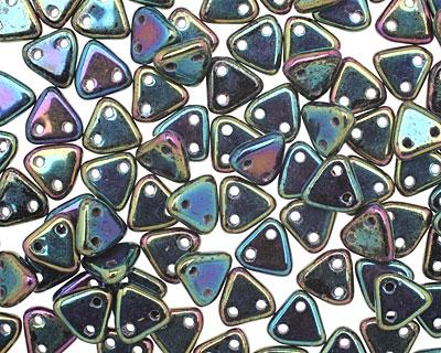 CzechMates Glass Iris Green 2-Hole Triangle 6mm