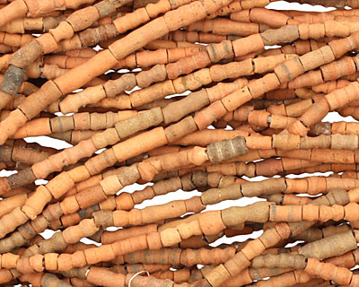 African Terra Cotta (dark) Ridged Tube 4-15x3-4mm