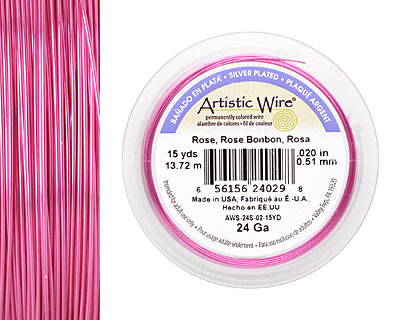 Artistic Wire Silver Plated Rose 24 gauge, 15 yards