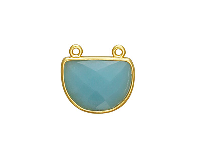Amazonite Faceted Half Moon w/ Gold Finish Bezel Focal 17x16mm