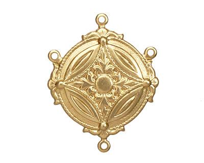 Brass Ornate Circle 1-3 Link 32x25mm