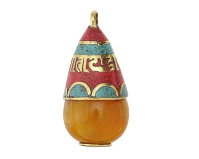 Tibetan Resin Amber & Brass