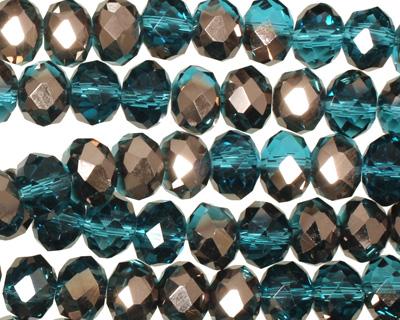 Capri Blue & Oiled Bronze Crystal Faceted Rondelle 8mm