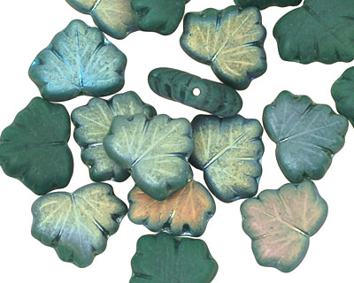 Czech Glass Teal Luster Maple Leaf 10x13mm
