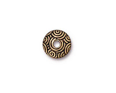 TierraCast Antique Gold (plated) Large Hole Spiral Dance Bead Cap 3x11mm