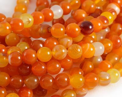 Orange Line Agate Round 8mm