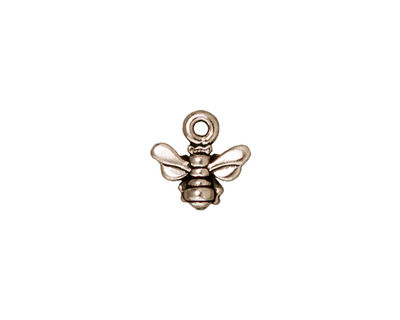 TierraCast Antique Silver (plated) Small Honeybee Charm 11mm