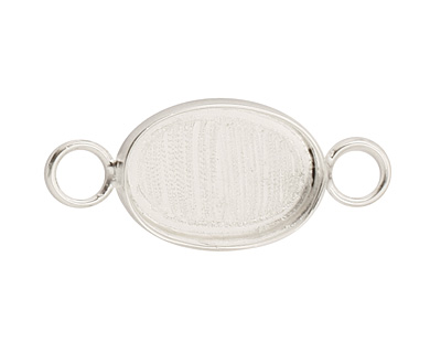 Silver (plated) Oval Bezel Link 19x15mm