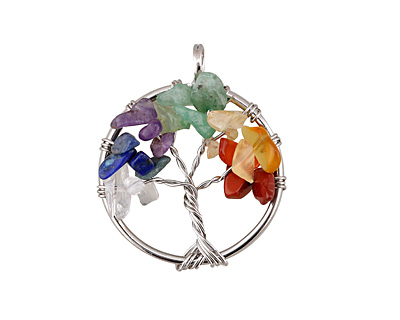 Chakra (Multi Stone) Silver Finish Wire-Wrapped Tree of Life Pendant 27-28x34-35mm