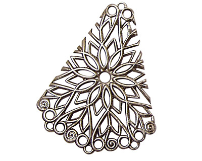 Stampt Antique Pewter (plated) Floral Fan Filigree 28x36mm
