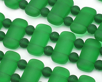 Shamrock Recycled Glass 2-Hole Rounded Pillow 11x23mm