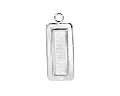 Silver (plated) Lipped Narrow Rectangle Bezel 12x36mm