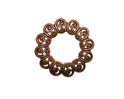 Stampt Antique Copper (plated) S-Wreath Filigree 21mm