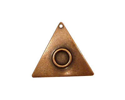 Stampt Antique Copper (plated) Triangle with Ring 21mm
