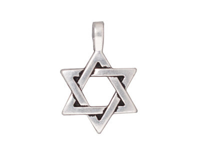 TierraCast Antique Silver (plated) Star of David Pendant 17x25mm