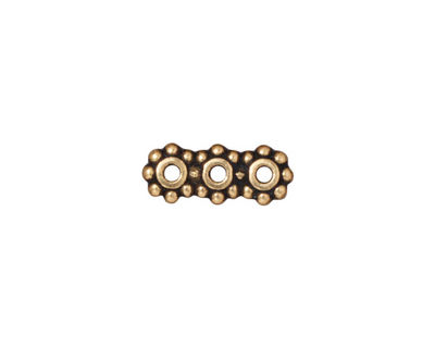 TierraCast Antique Gold (plated) Beaded 3-Hole 6mm Heishi Bar 15x6mm