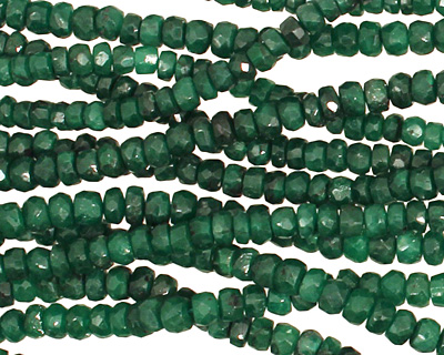 Emerald (color enhanced) Faceted Rondelle 3.5-4mm