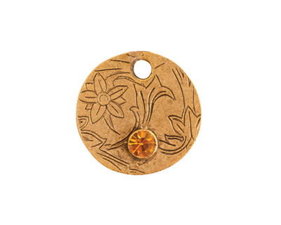 Nunn Design Antique Gold (plated) Decorative Small Circle Tag w/ Topaz Crystal 20mm