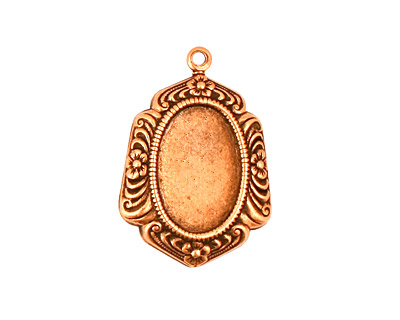 Stampt Antique Copper (plated) Feathered Edge Oval Setting 10x14mm