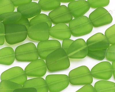 Olive Recycled Glass Flat Freeform 15x13-15mm