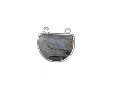Labradorite Faceted Half Moon w/ Silver Finish Bezel Focal 17x16mm