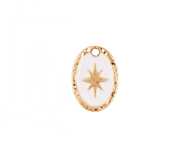 Zola Elements White Enamel Matte Gold Finish Starburst Oval Focal 11x15mm