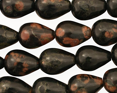 Black Leopardskin Jasper Teardrop 14x10mm