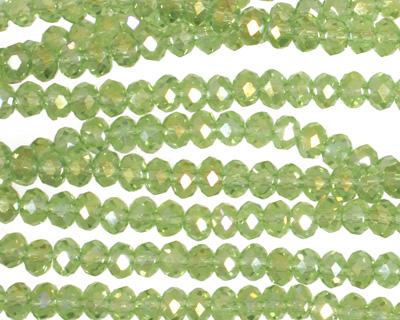 Light Olivine AB Crystal Faceted Rondelle 4mm