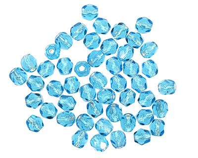 Czech Fire Polished Glass Silver Lined Aquamarine Round 4mm