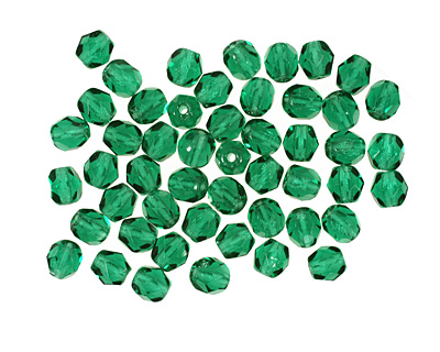 Czech Fire Polished Glass Green Emerald Round 4mm