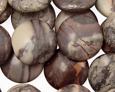 Porcelain Jasper Puff Coin 18mm