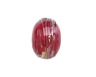 A Beaded Gift Fuchsia Luxe Glass Rondelle (hollow) 13-15x19-23mm