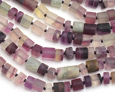 Rainbow Fluorite (matte) Barrel 5-11x10mm