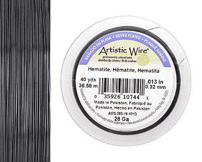 Artistic Wire Silver Plated Hematite 28 gauge, 40 yards