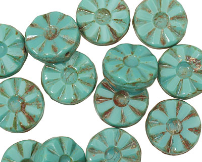 Czech Glass Turquoise Picasso Flower Window Coin 12mm