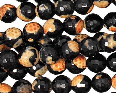 Black & Orange Agate Faceted Round 8mm