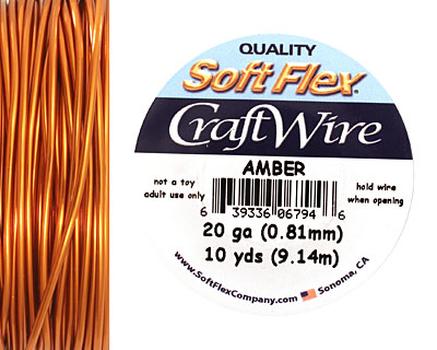 Soft Flex Amber Craft Wire 20 gauge, 10 yards