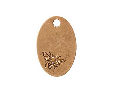 Nunn Design Antique Gold (plated) Large Oval Bee Tag 16x25mm