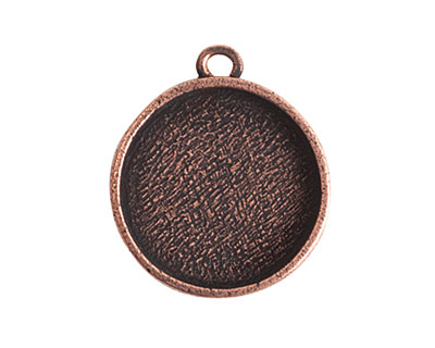 Nunn Design Antique Copper (plated) Crest Circle Bezel Pendant 23x27mm