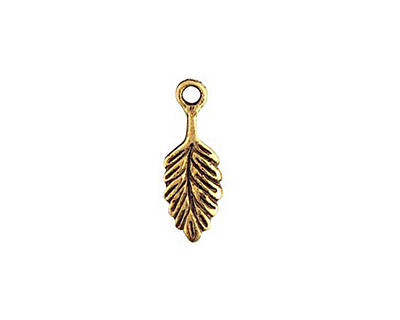 Nunn Design Antique Gold (plated) Leaf Charm 7x18mm